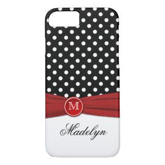 Monogram Black Red White Polka Dot iPhone 7 Case