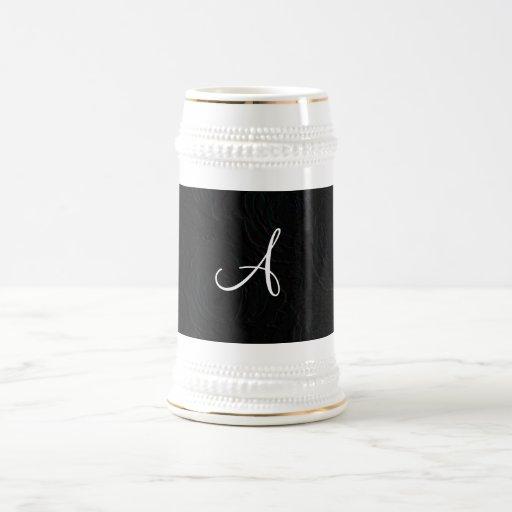 Monogram black roses faux texture coffee mug