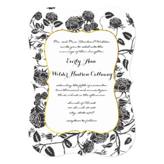 Monogram Black Roses Toile Gold Border Wedding Card