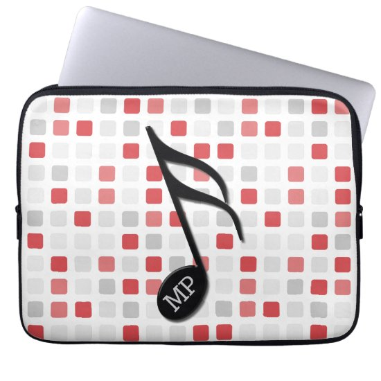 Monogram Black Semi Quaver Red Gray Mosaic Computer Sleeve
