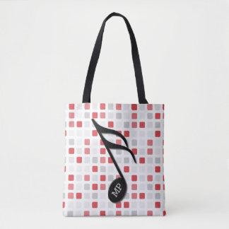 Monogram Black Semi Quaver Red Gray Mosaic Tote Bag