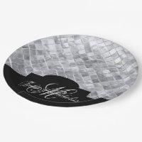 Monogram Black & Silver 25th Anniversary Plates
