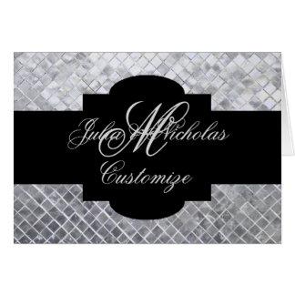 Monogram Black & Silver Mosaic Tiles Note Card