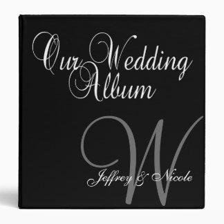 Monogram Black & Silver  Wedding Photo Album Binder