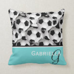 "Monogram  Black Soccer Ball Pattern Throw Pillow<br><div class=""desc"">An eye-catching and stylish football soccer ball design featuring a pattern of black and white soccer balls with accents in coordinating turquoise,  black and white with your monogram initials and name. Ideal for the soccer girl or soccer Mom.</div>"