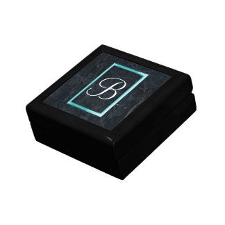 Monogram Black Stone Abstract Grunge Texture Jewelry Box