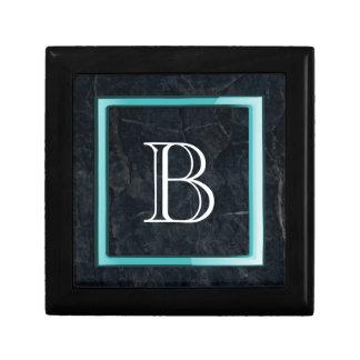 Monogram Black Stone Abstract Grunge Texture Keepsake Box