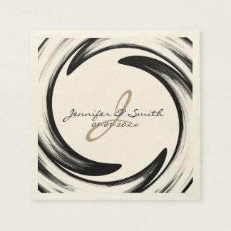 Monogram Black Swirl Abstract Art #2 Paper Napkin