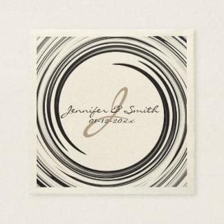 Monogram Black Swirl Abstract Art Napkin