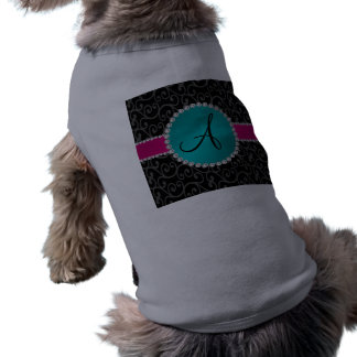 Monogram black swirls turquoise circle dog tshirt