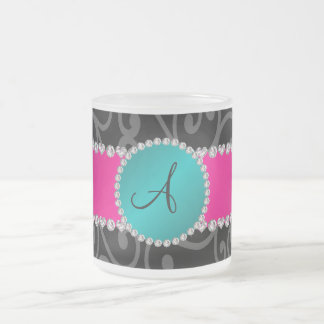 Monogram black swirls turquoise circle coffee mugs