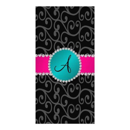 Monogram black swirls turquoise circle personalized photo card