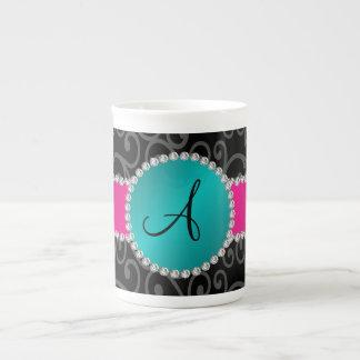 Monogram black swirls turquoise circle porcelain mugs
