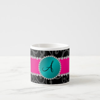 Monogram black swirls turquoise circle espresso mug