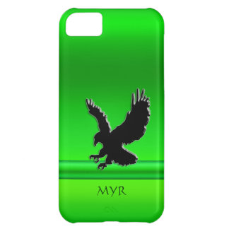 Monogram Black Swooping Eagle, green chrome-look Cover For iPhone 5C