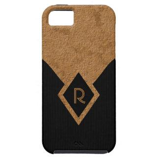 Monogram Black Tan Classy Tough iPhone 5 5S Cases iPhone SE/5/5s Case