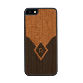 Monogram Black Tan Elegant Wooden iPhone 5 5S Case