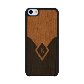 Monogram Black Tan Elegant Wooden iPhone 5C Cases Carved® Cherry iPhone 5C Slim Case