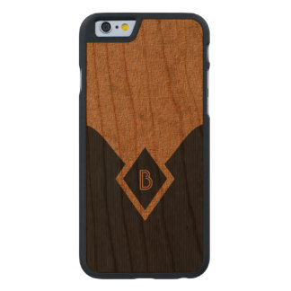Monogram Black Tan Elegant Wooden iPhone 6 6S Case