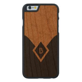Monogram Black Tan Elegant Wooden iPhone 6 6S Case