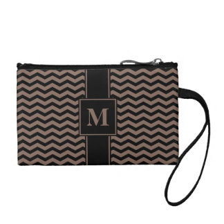 Monogram Black/Taupe Brown Chevron Coin Wallets