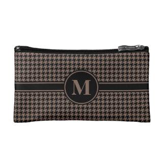 Monogram Black/Taupe Brown Houndstooth Makeup Bag