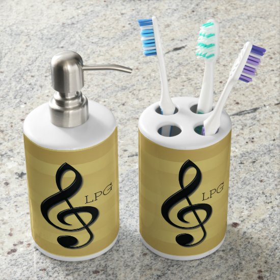 Monogram Black Treble Clef on Golden Stripes Bath Set