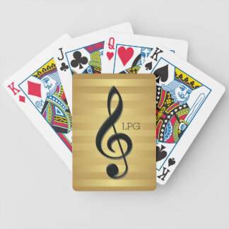 Monogram Black Treble Clef on Golden Stripes Bicycle Playing Cards