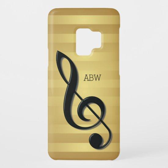 Monogram Black Treble Clef on Golden Stripes Case-Mate Samsung Galaxy S9 Case