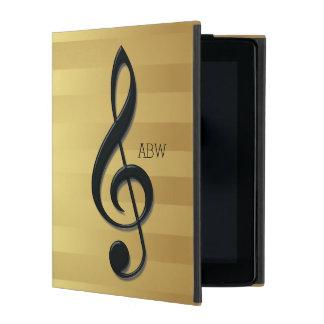 Monogram Black Treble Clef on Golden Stripes iPad Cases