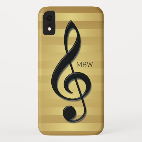 Monogram Black Treble Clef on Golden Stripes iPhone XR Case