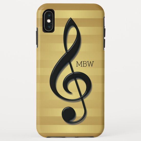 Monogram Black Treble Clef on Golden Stripes iPhone XS Max Case