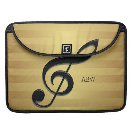 Monogram Black Treble Clef on Golden Stripes Sleeve For MacBooks