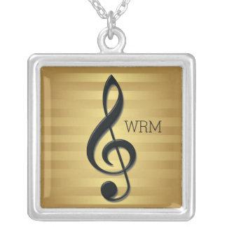 Monogram Black Treble Clef on Golden Stripes Custom Necklace