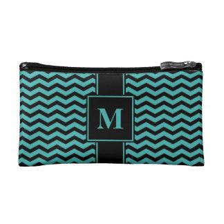 Monogram Black/Verdigris Green Blue Chevron Cosmetic Bag