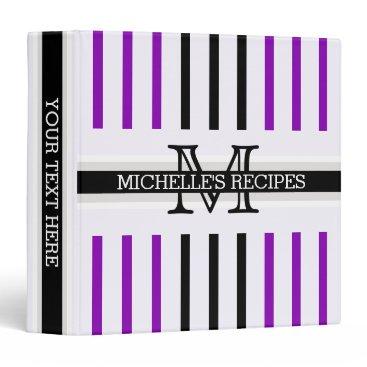 Beach Themed Monogram Black Violet Stripes Pattern Recipes Binder