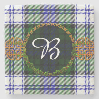 Monogram Black Watch Fashion Tartan Stone Coaster