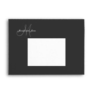 Monogram Black Wedding Invitation Envelopes