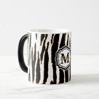 Monogram Black, White and Gold Zebra Stripes Magic Mug
