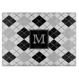 Monogram Black White and Gray Argyle Cutting Board