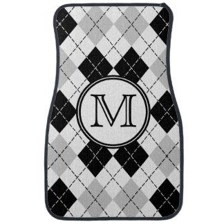 Monogram Black White and Gray Argyle Floor Mats