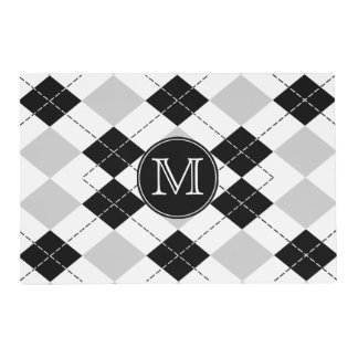 Monogram Black White and Gray Argyle Placemat