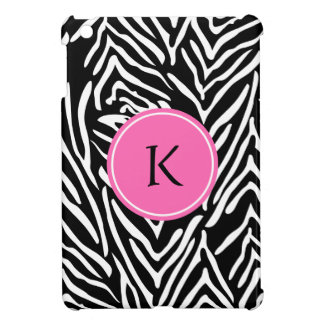 Monogram Black, White and Hot Pink Zebra Print iPad Mini Covers