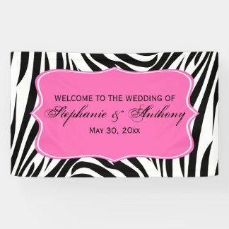 Monogram Black, White and Hot Pink Zebra Wedding Banner