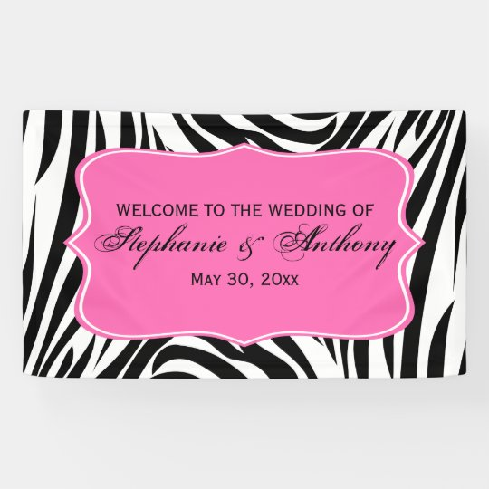 Monogram Black White And Hot Pink Zebra Wedding Banner