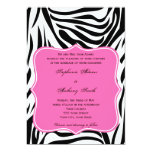 Monogram Black, White and Hot Pink Zebra Wedding Card