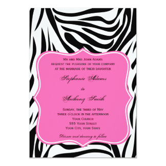Monogram Black, White and Hot Pink Zebra Wedding Card