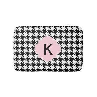 Monogram Black, White and Pastel Pink Houndstooth Bathroom Mat