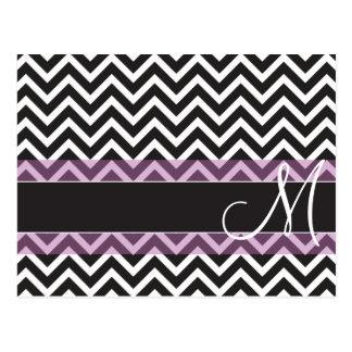 Monogram Black, White and Pink Chevron ZigZag Postcard