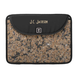 Monogram Black White & Brown Nature Stone Granite Sleeves For MacBook Pro